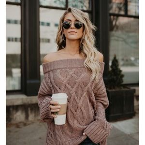 🆕Phoebe Mauve Off the Shoulder Loose Knit Sweater